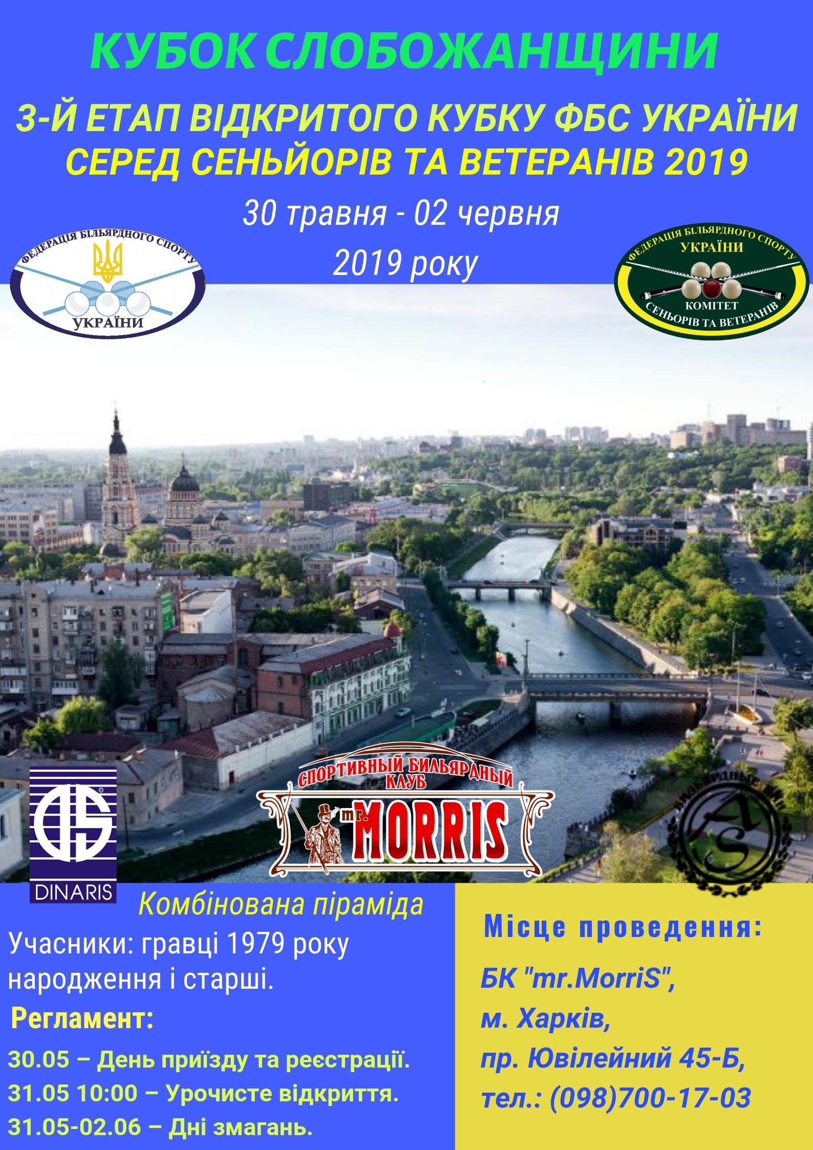 КУБОК СЛОБОЖАНЩИНЫ  3-й этап Открытого кубка ФБС Украины  среди ветеранов 2019